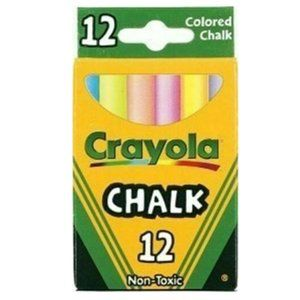 CRAYOLA CHALK Non-Toxic - Assorted Colors-12 Count